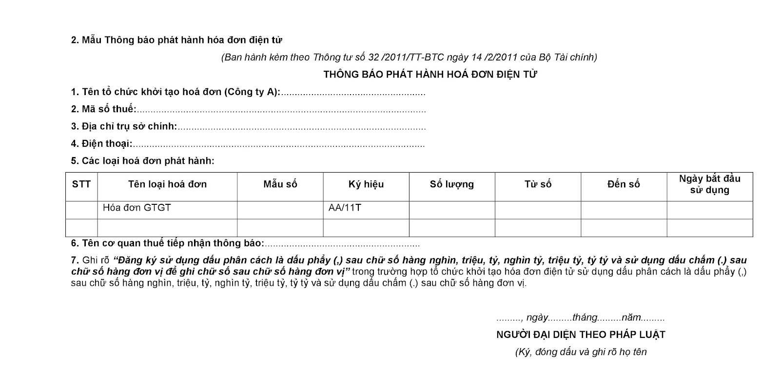 Thông báo phát hành hoá đơn điện tử theo Mẫu