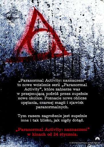 Tył ulotki filmu 'Paranolmal Activity: Naznaczeni'