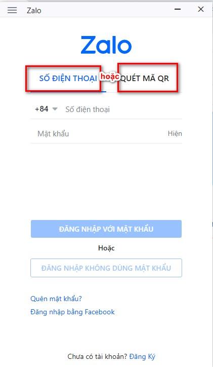 Nhập số điện thoại hoặc mã để đăng nhập 2 Zalo