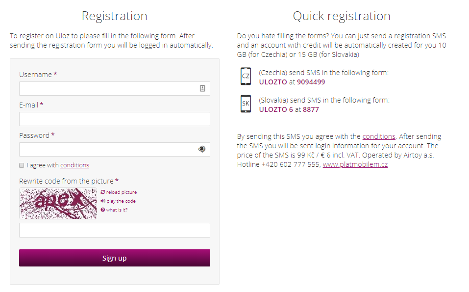 Uloz Registration
