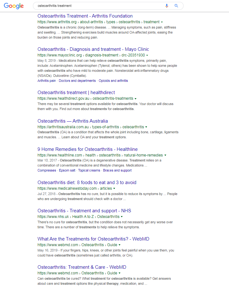 osteoarthritis treatment results from a google search with no ads
