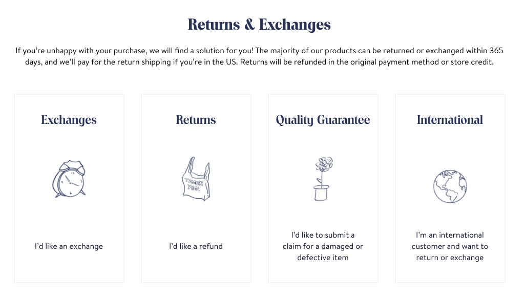 Brooklinens returns and exchanges policy