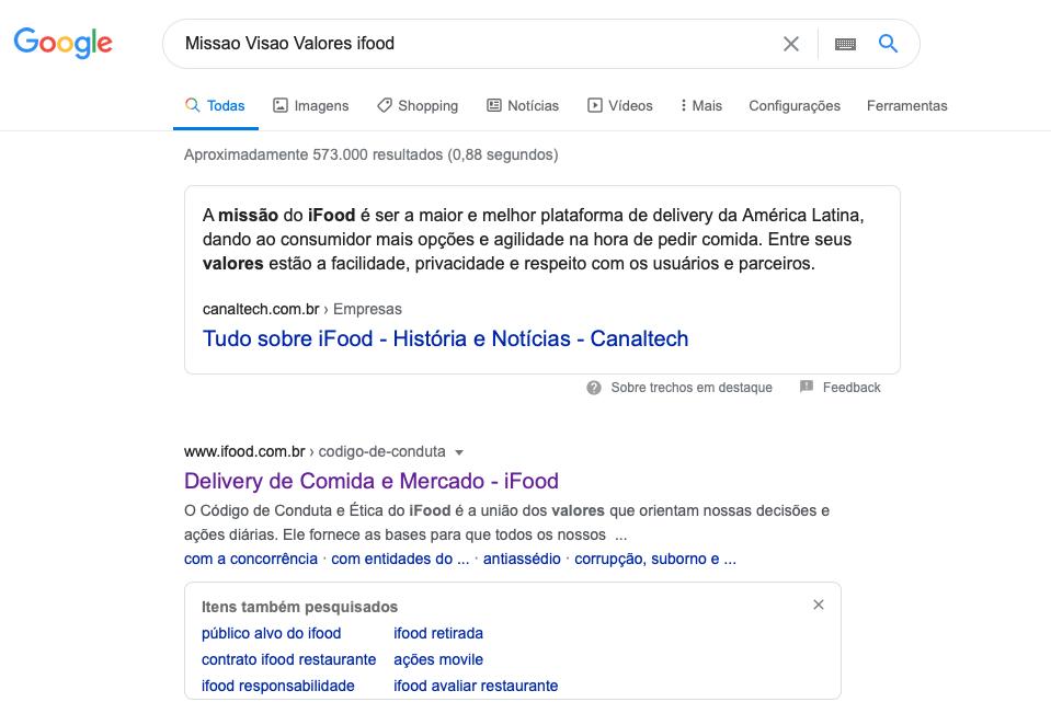 Como encontrar Missão Visão Valores no Google
