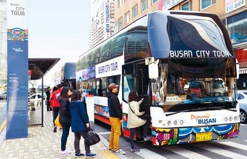 Đi xe bus Hàn Quốc.