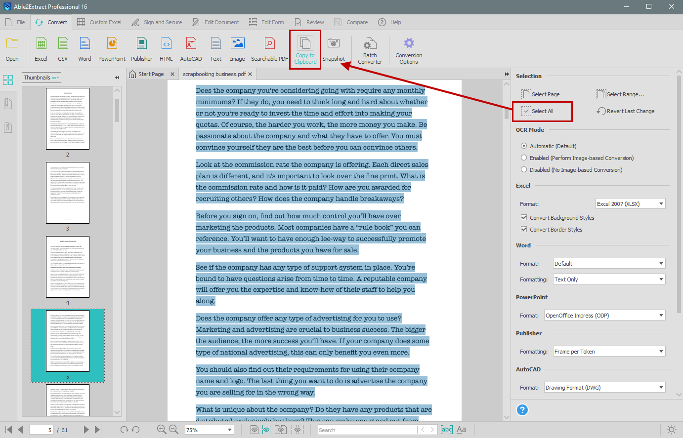 Copy all PDF text to clipboard in Able2Extract