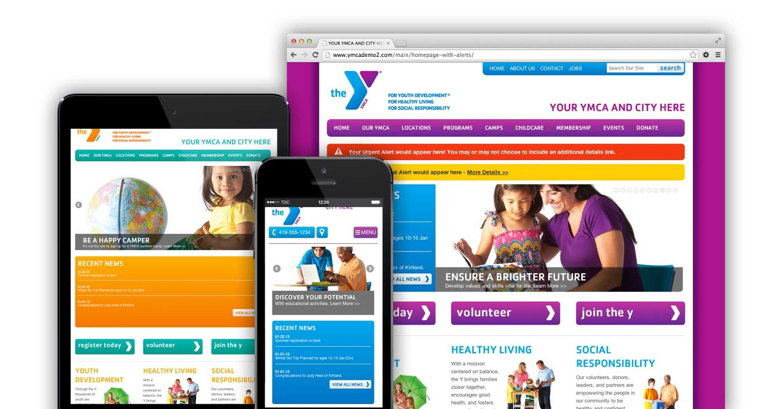YMCA responsive websites