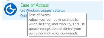 The Ease of Access option in the Windows Control Panel