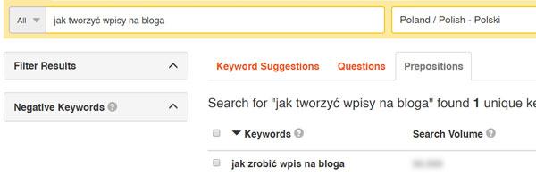 Wizualizacja narzędzia keywordtool.io doszukania fraz kluczowych dotematu jak zrobić wpis nabloga
