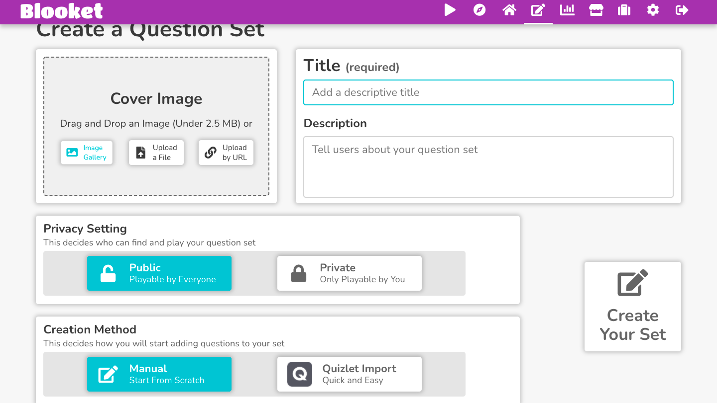 Image of Booklet create a question set screen.