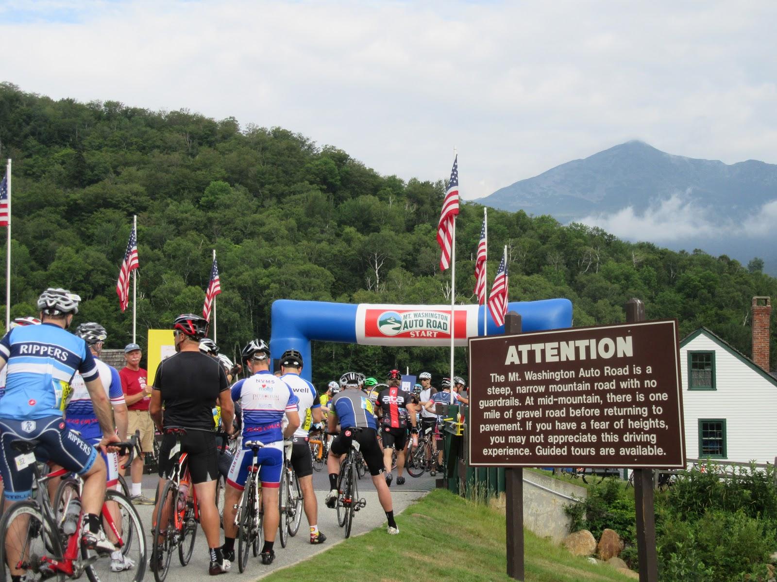 Biking Mt. Washington Auto Road starting station