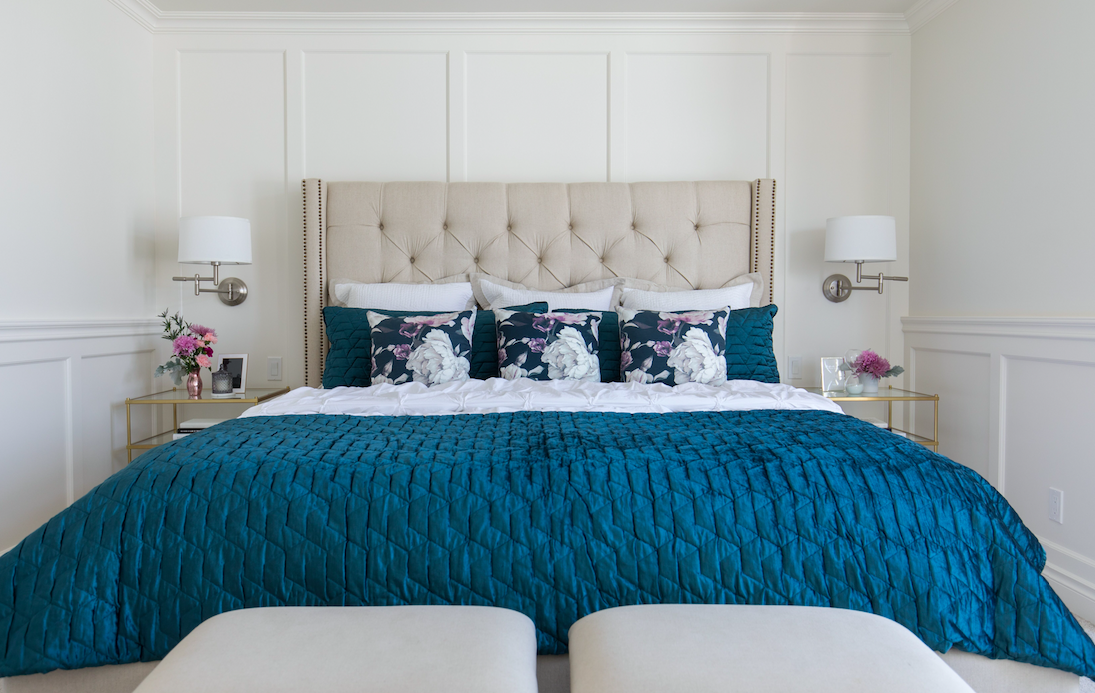 After: Fresh, traditional master bedroom design and renovation by Calgary firm, LeAnne Bunnell Interiors.