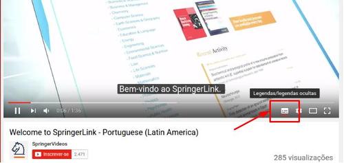 Figura 2: SpringerLink - Tutoriais legendados da SpringerLink