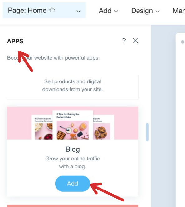 Add blog app to Wix Website