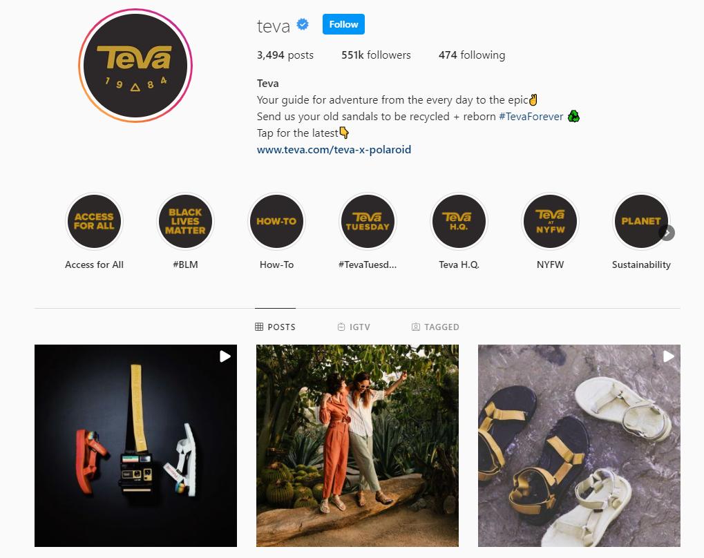 Teva Instagram profile