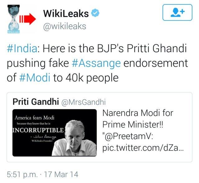 Wikileaks BJP endorsement