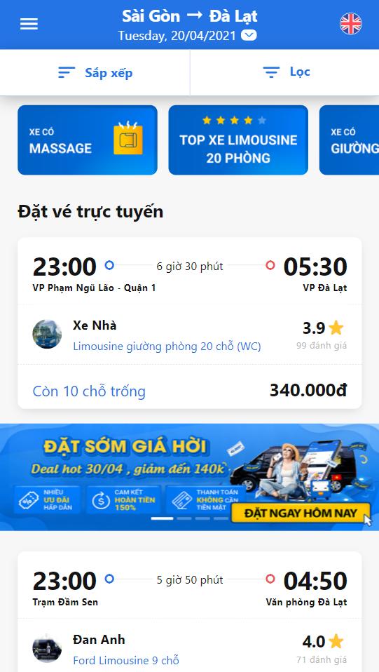 Dùng bộ lọc chọn xe Nguyễn Kim Limousine.