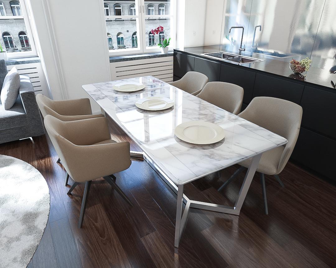 Meja Makan dengan Top Table Marble membuat Ruang Makan Tampil Elegan