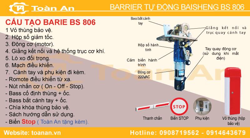 Các bộ phận chi tiết và cấu tạo của barrier tự động baisheng bs 806.