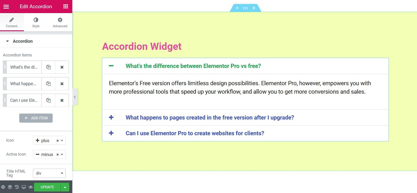 Accordion Widget - Docs | Elementor