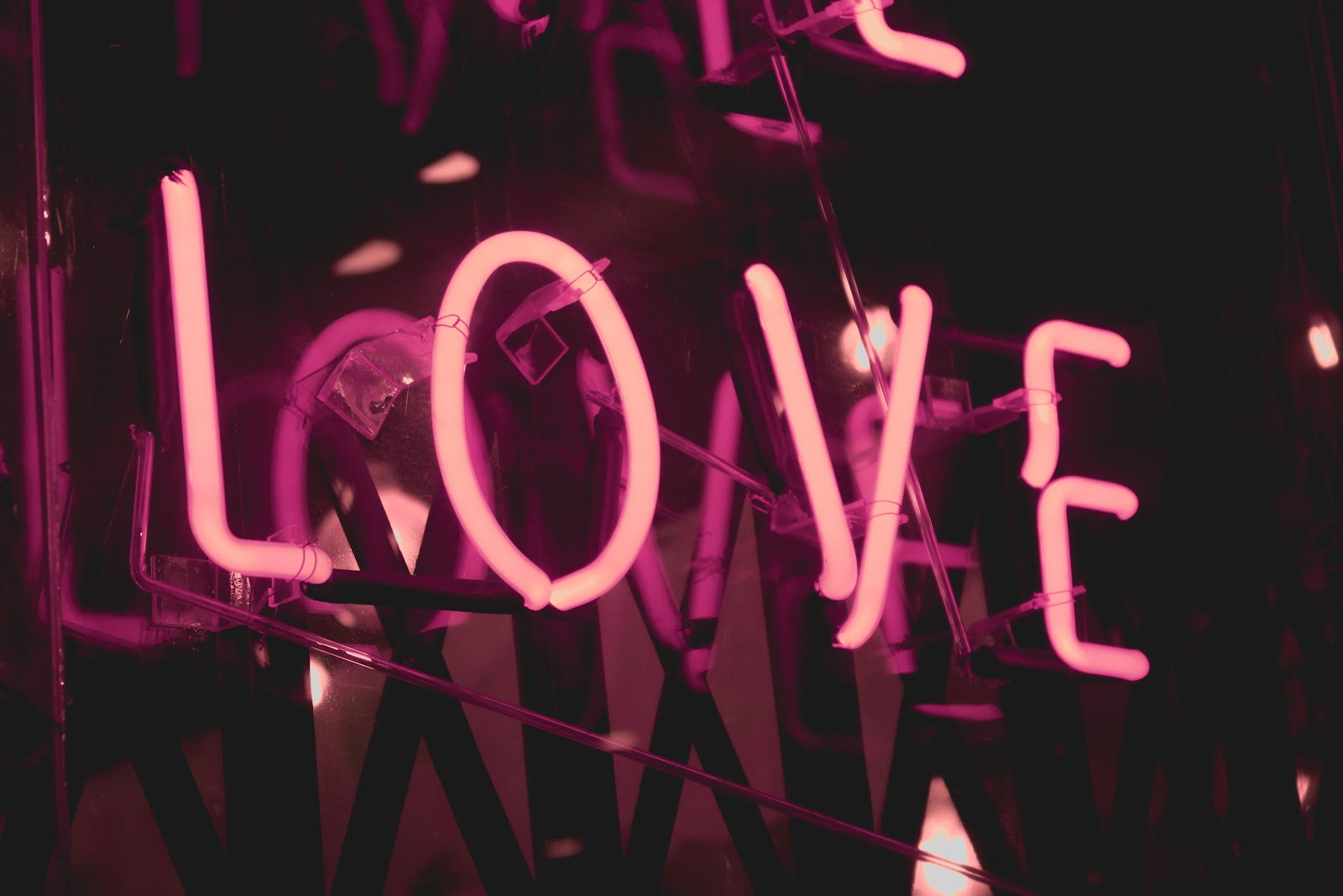 neon sign love for valentines day