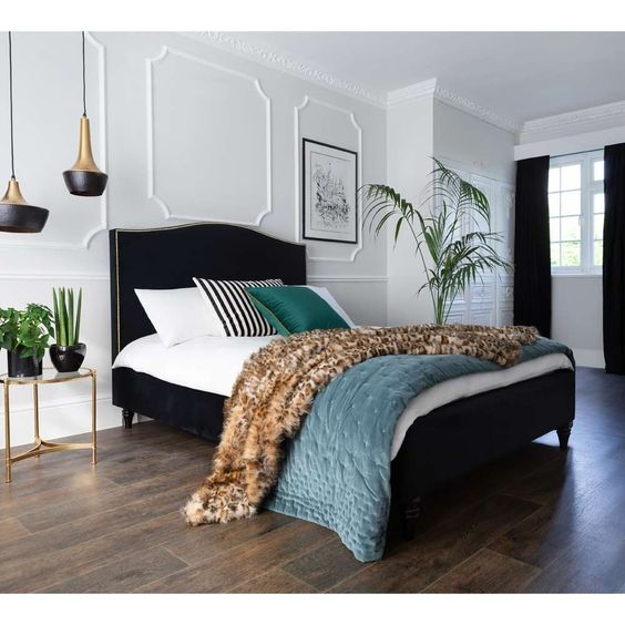 Dramatic Combination of Teal, Black and White Bedroom