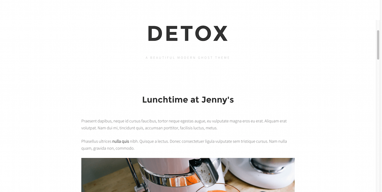 Detox free Ghost website theme for travel and food bloggers