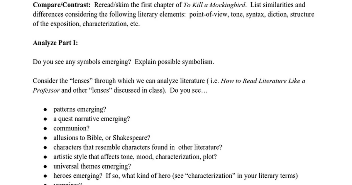 literary elements used kill mockingbird