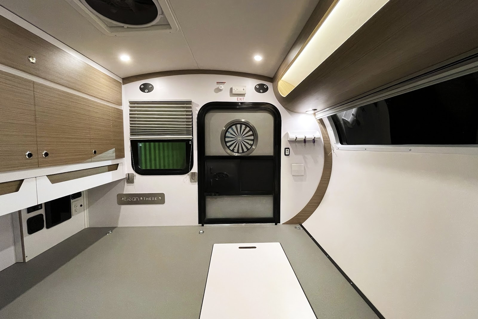 Mean Bean teardrop camper interior without bed cushions