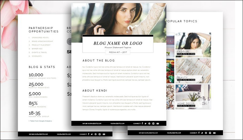 Blogger Media Kit Template   3 Pages by Stephanie Design