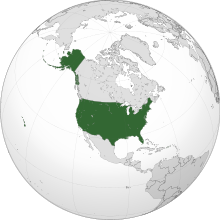 Projection of North America with the United States in green