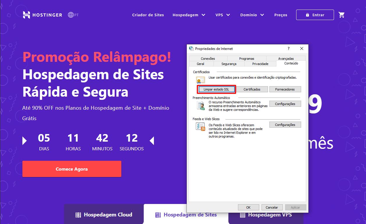 opção limpar estado ssl nas propriedades de internet