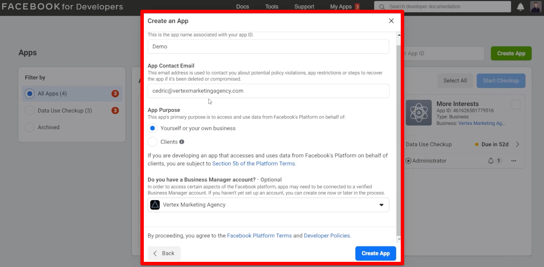 Filling out the information to create an app in Facebook Developer