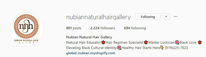 Nubian Natural Gallery Instagram Marketing
