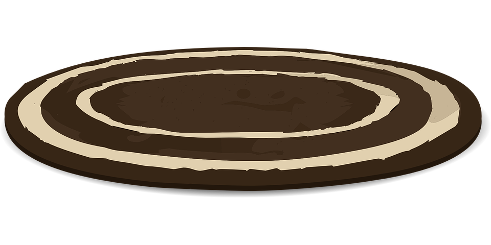Tapete, Brown, Branco, Oval, Rodada, Decoração