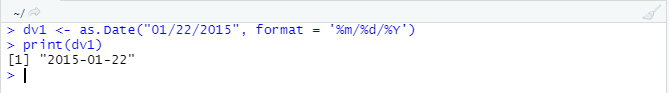 This image shows how the as.Date() function works even if we don't have the input date in proper format.