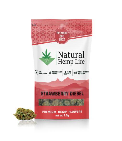 Natural Hemp Lifes Premium CBD Buds med smak av jordgubb