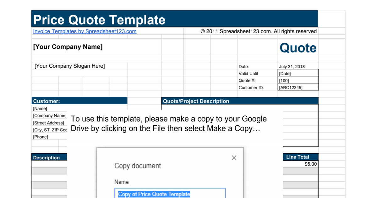 Price Quote Template Google Sheets - Quote template google docs
