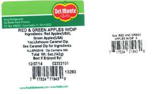 Label, Del Monte Red & Green Apples with Dip, 5 oz.