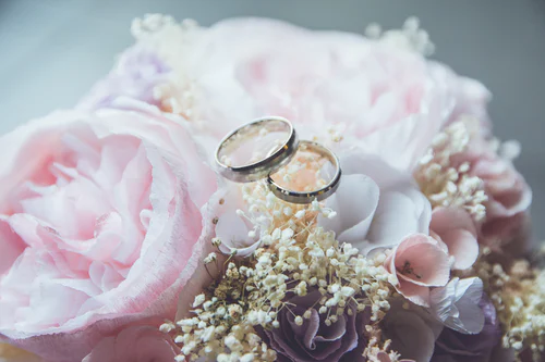 How to plan a wedding - image of wedding rings and a floral boquet