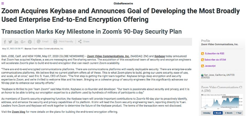Zoom example acquisition announcement press release.
