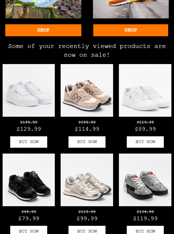 ecommerce newsletter example showing product recommendations