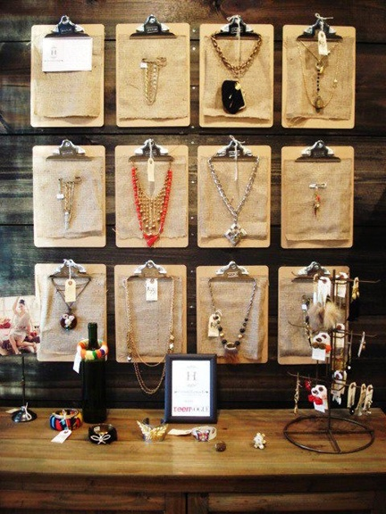 For an inexensive rotating jewelry display, hang a group of clipboards with pieces of jewelry clipped on them! You can change the jewelry weekly, monthly, or whenever the mood strikes!