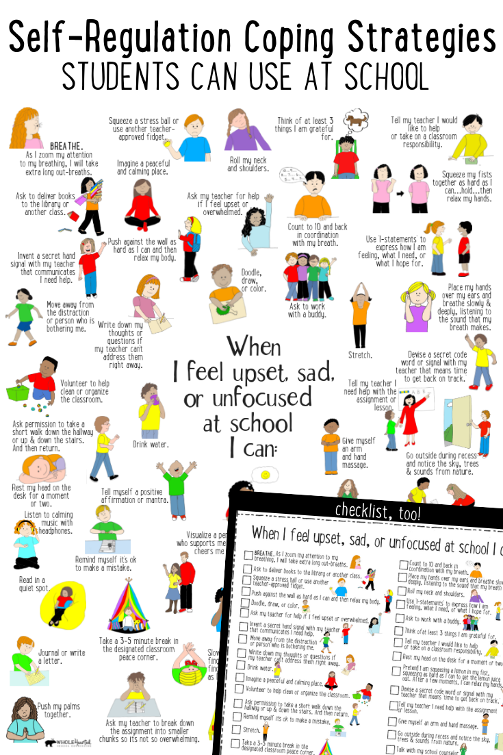 What's Included: ✓ 50 Self-Regulation Coping Strategies Students Can Use at  School poster ✓ Checklist to… | Social emotional learning, Teaching, School  social work