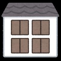雨戸が閉じた家のイラスト