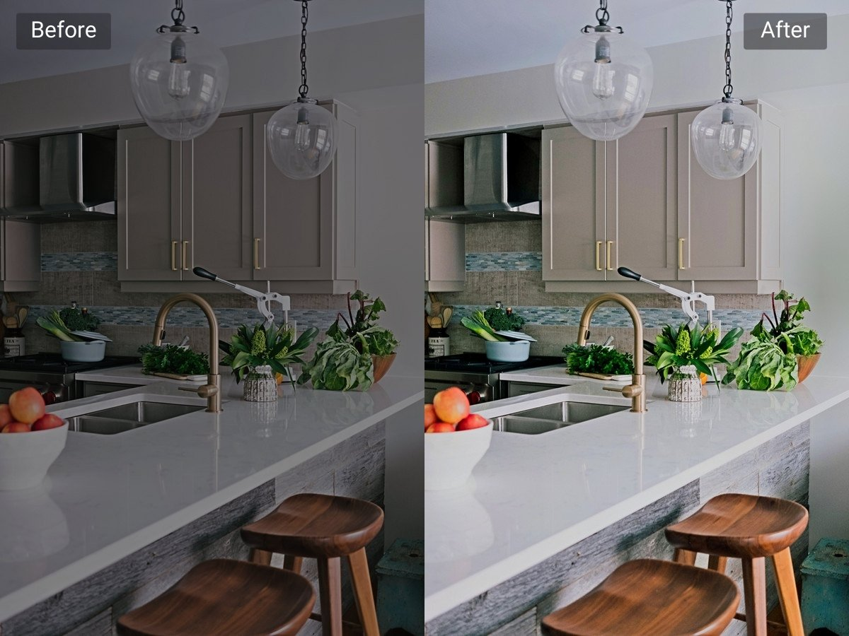 Kitchen before and after HDR