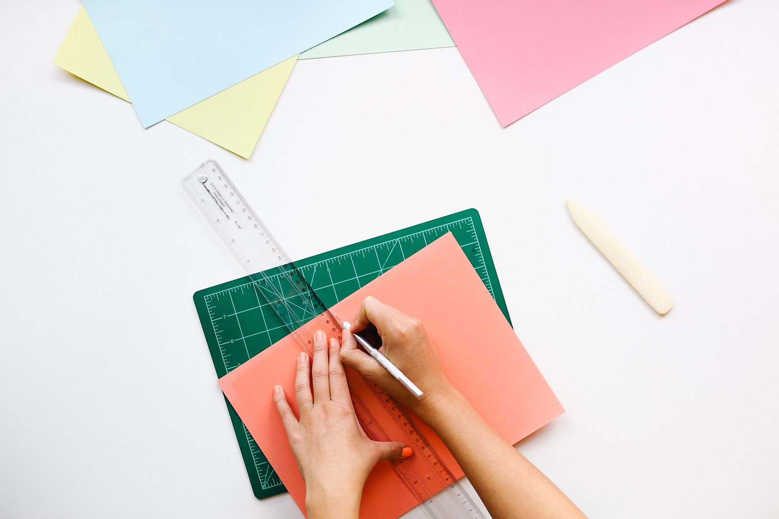 colorful paper and measuring ruler