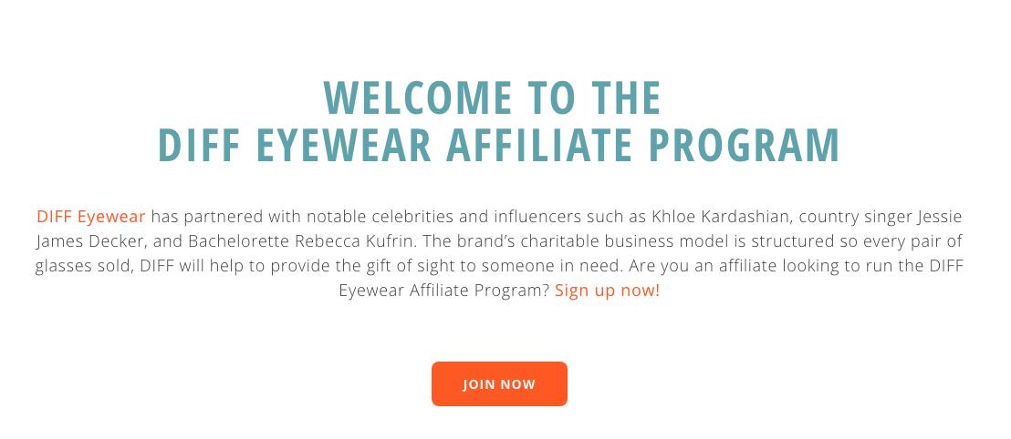 Diff Eyewear Affiliate Program Application