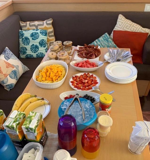 A table topped with plates of food  Description automatically generated