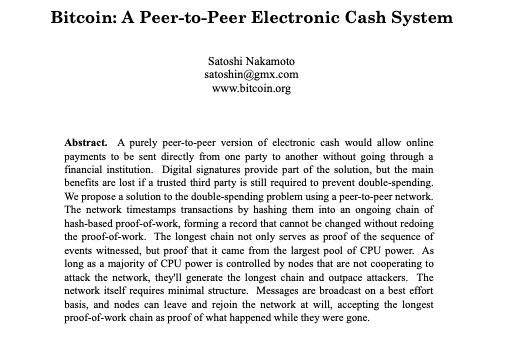 Screengrab showing the title and abstract of the Bitcoin whitepaper