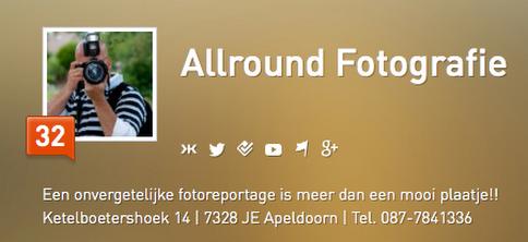 Klout score van Allround Fotografie bij aanmelden